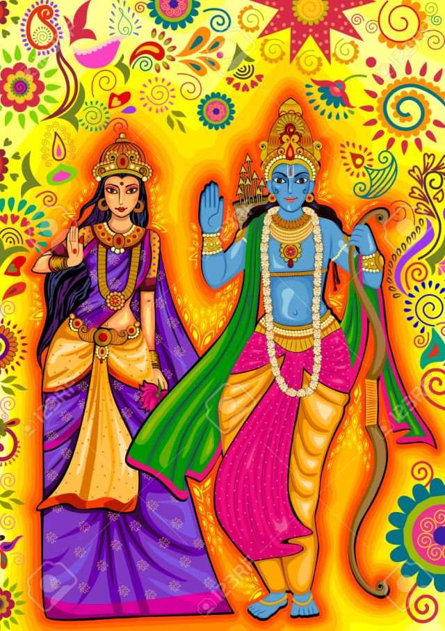 Indian God Rama and Sita for Dussehra festival celebration in India